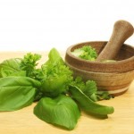 Pestle and mortar with herbs